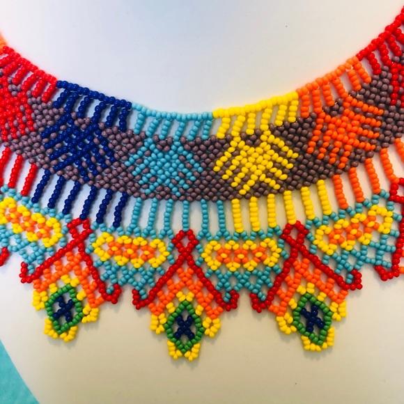 beaded choker Huichol necklace Mexican necklace huichol choker huichol art.